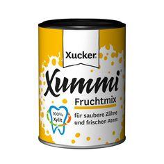 """Xucker Xummi Fruchtmix – Zahnpflegekaugummi mit Fruchtgeschmack. Nur mit Xylit gesüßt. Von Ökotest mit """"gut"""" bewertet."""