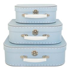 Pale Blue suitcase from Alimrose is a great storage and decor accessory Suitcase Storage, Suitcase Set, Kids Bedroom Storage, Kids Storage, Bedroom Accessories, Decorative Accessories, Pale Blue Bedrooms, Small Case, Kids Decor