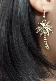 Palm Tree Earrings. Gold Costume Jewellery. Kawaii Summer Gold Costume Jewelry, Gold Jewelry, Jewellery, Earring Tree, Palm Trees, Gold Earrings, Kawaii, Costumes, Summer