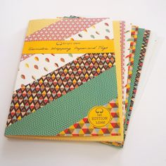 Bright Stem Geometric Mixed Wrapping Paper Folded (6) Sheets and Tags