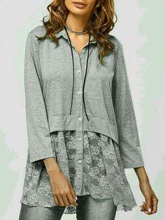 Lace Trim Smock Blouse - Men's style Look Fashion, Fashion Models, Womens Fashion, Fashion Site, Sewing Clothes, Diy Clothes, Cheap Clothes, Crochet Clothes, Sammy Dress