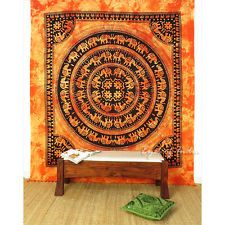 QUEEN ORANGE ELEPHANT INDIAN MANDALA TAPESTRY WALL HANGING Picnic Boho Decor