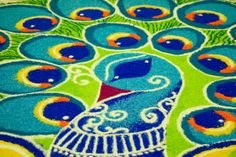 rangoli peacock design from Indian wedding