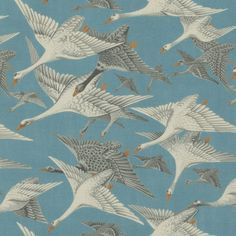 Wild Geese Linen Fabric A charming linen fabric depicting wild geese in flight, printed in chalky white and grey on a rich teal coloured ground.