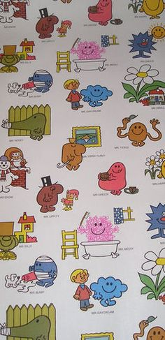 Mr Men wallpaper we had these curtains when we were small
