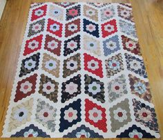 """Large Early Fabulous ANTIQUE Hexagon c1880 QUILT TOP Optical Illusion 96x77"""""""