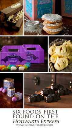 Introduce your party guests to the wizarding world with the same food Harry Potter first tried on the Hogwarts Express Trolley. Links to all 6 recipes and their free printable packaging! www.FoodinLiterature.com