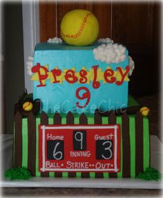 Omg I want this cake for my birthday Softball Birthday Cakes, Softball Party, Themed Birthday Cakes, 12th Birthday, Softball Stuff, Softball Mom, French Vanilla Cake, Sport Cakes, Strawberry Cakes