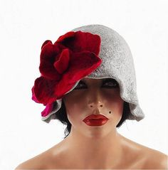 Flapper Hat Cloche hat GATSBY HAT Felted Hat Jazz Hat Grey Art Hat felt nunofelt nuno felt silk eco fiber art art deco Much more beautiful than the picture! A hat from our workshop. A feminine and gorgeous piece of art - it will emphasize your individuality! Elegant and very flattering hat.