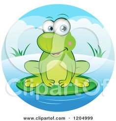 Cartoon Frog Pond   Royalty-Free (RF) Clipart of Frogs, Illustrations, Vector Graphics #1