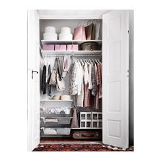 IKEA ALGOT wall upright/shelves/rod Can also be used in bathrooms and other damp areas indoors. Ikea Algot, Small Closet Organization, Closet Storage, Bedroom Storage, Ikea Closet Organizer, Organizing, Small Wardrobe, Pax Wardrobe, Closet Bedroom
