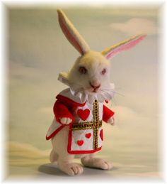 Wonderland The White Rabbit in a Red Queen Hearts Tunic Needle felted Storybook OOAK Doll. $895.00, via Etsy.