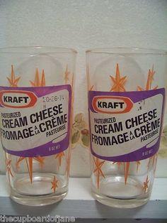 A Pair of KRAFT CREAM CHEESE SWANKY SWIGS Glass WITH ORIGINAL LABEL Orange Stars