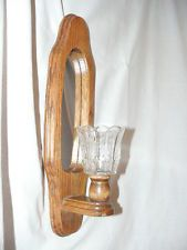 One Home Interiors Wooden Sconce with Mirror and Clear Tulip Glass Globe 9.99+sh SOLD ebay