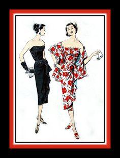 Vintage 1950s - Gorgeous Ladies Strapless Cascade Drape Sarong Dress & Stole