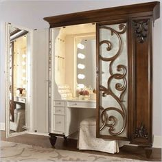 American Drew Jessica McClintock Couture Mink Jewelry Armoire with Stool - 908-273 - Lowest price online on all American Drew Jessica McClintock Couture Mink Jewelry Armoire with Stool - 908-273
