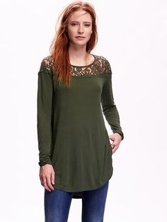 Lace-Yoke Long-Sleeve Top for Women Product Image