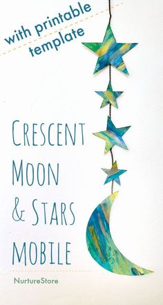 crescent moon and stars mobile craft printable, easy Ramadan craft for kids
