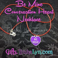 "Now available at  Be Mine Conversation Heart Necklace for #ValentinesDay for $10. Red leather cord with silver plated lobster clasp closure. Necklace is 22"" long. Shop link in profile! .. .. #jewelry #handmadejewelry #crafty #DIY #gifts #handmade #shophandmade #handmadewithlove #imadethis #psimadethis #makersgonnamake #favehandmade #makersvillage #thehandmadeparade #shopsmall #handmadeacademy"