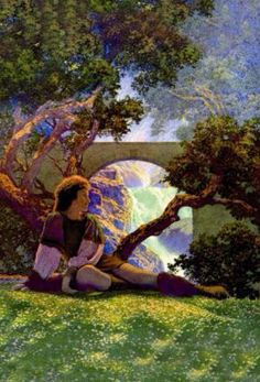 The Knave of Hearts Waits in the Meadow, by Maxfield Parrish