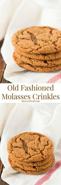 Old Fashioned Molasses Crinkles - Oh Sweet Basil Christmas Desserts, Christmas Treats, Christmas Baking, Christmas Cookies, Cookie Desserts, Cookie Recipes, Dessert Recipes, Dessert Bars, Yummy Cookies