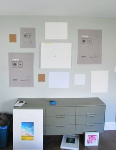I like the idea of taking the 'inserts' of the frames out to use in arranging the picture layout on your walls!  Gallery Wall + DIY Mattes for IKEA Ribba Frames