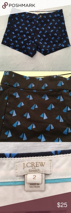 J. Crew Factory Sailboat Printed Chino Shorts NWOT! Cute printed pair of chino shorts from J.Crew Factory. Navy shorts with colbolt blue sailboats. Faux back pockets. No rips or stains  Measurements (approximate, taken laying flat): Waist: 15 inches Inseam: 3 inches  Material: 98% cotton 3% spandex  ❌No trades❌ J. Crew Factory Shorts