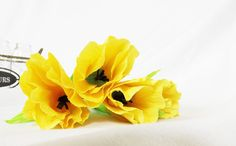 Paper Tulips Crepe Paper Flowers Yellow Tulip Spring by FioriBelle
