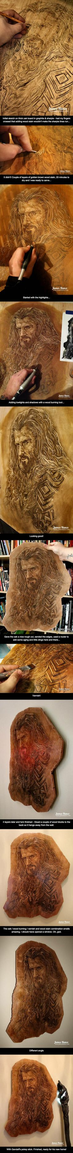 Believe it or not, this Oakenshield portrait was carved entirely from a piece of wood