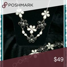 """Premier Designs Jewelry Antiqued matte siler plated crystals Necklace is 16"""" w/4"""" extender and lobster claw closure Bracelet is 7.5-8.5"""" with toggle closure Premier Designs Jewelry Necklaces"""