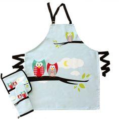 Little Owl Mutfak Seti // 100% Pamuk // 1 Önlük, 1 Eldiven, 1 Tutacak