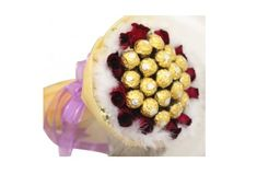 Chocolates bouquet of 16 pcs ferrero rocher chocolates with red roses