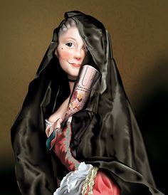 """Lady with Vogue.  Inspirado en el retrato """"The Lady with the weil"""" de A. Roslin. Came Badia."""