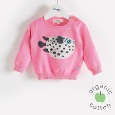 The Bonnie mob SS16 - The Life Aquatic. PUFFY Organic Cotton Pink Pufferfish Baby and Girls Sweater/Jumper. Lightweight knitted sweater with 'puffer fish' intarsia design.