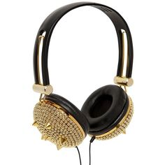 NY&LON MONNALISA Studded Headphones (125 AUD) ❤ liked on Polyvore featuring accessories, tech accessories, headphones, music, tech, fillers and studded headphones