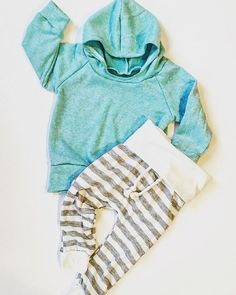 Super cute set for boy or girl ! Mint hoodie made out of French terry and a soft gray and white stripe skinny sweat! With a cotton cord accent!