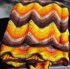 Vintage Knitted Autumn/Fall Afghan Bed by NopalitoVintageMore, $60.00