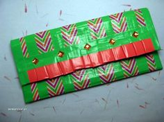 "FREE SHIP!! ""Zig Zag"" Duct Tape Clutch / Wallet"