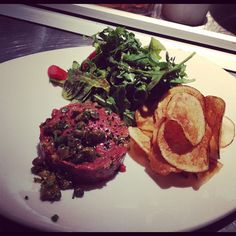 Fallon Hills grass fed steak tartar, fried capers, remoulade sauce, potato chips, arugula salad, black lava Hawaiian sea salt at Tender Greens Walnut Creek.