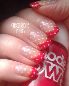 Geordie Nails: Red  Polka Dot French