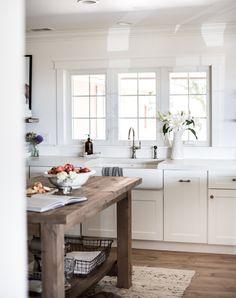 White Farmhouse Kitchen with Shaker Cabinets   boxwoodavenue.com