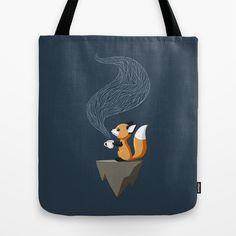 A fox having tea. Gosh this makes me happy. :: Tote Bag