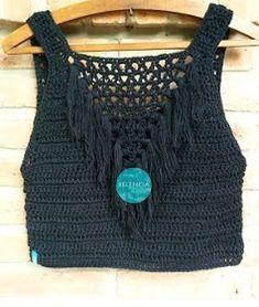 Fabulous Crochet a Little Black Crochet Dress Ideas. Georgeous Crochet a Little Black Crochet Dress Ideas. Crochet Summer Tops, Crochet Bikini Top, Crochet Blouse, Débardeurs Au Crochet, Mode Crochet, Blouse Models, Crochet Clothes, Crochet Projects, Crochet Patterns