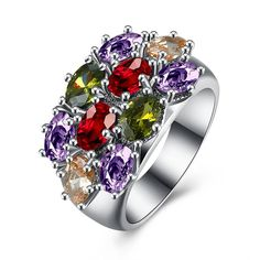 * Penny Deals * - 18K White Gold Plated Colorful Luxury CZ Bridal Rings Party Wedding Bands ** You can find out more details at the link of the image.