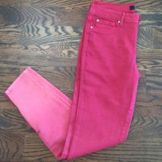 New red pants with zippers Red pants that goes from dark to light color with zippers on sides. Not worn Jessica Simpson Jeans