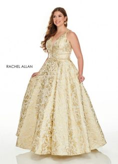 Style 7226 from Rachel Allan Curves is a metallic brocade plus size ballgown that features sheer beaded back straps and pockets.