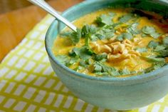 African Chicken Peanut Soup - This delicious African chicken soup is full of spices and thickened with peanut butter.  By Bowen Close