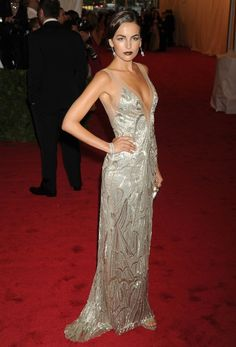 No. 1 — Camilla Belle  Talk about designer loyalty! Camilla stunned in a head-to-toe Ralph Lauren Collection, topping her curve-hugging ivory beaded dress with vintage diamond jewels. A sultry swipe of deep-red lipstick amped up the old-Hollywood glamour ~ Met Gala 2012