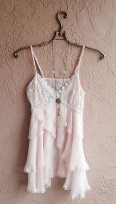 Blush Pink ruffle top with lace and crochet details