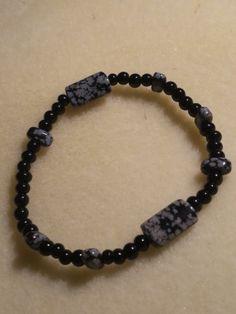 Black and gray stretch bracelet-$8